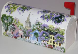 Hand Painted Mailbox w Charleston SC Landscape All Over Painting