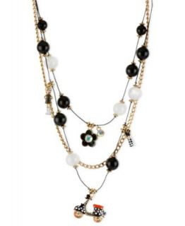 Betsey Johnson Necklace, Gold Tone Glass Crystal Multi Charm Scooter