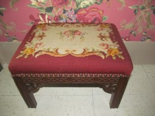 Needlepoint Stool made by Colonial Furniture of Grand Rapids Michigan