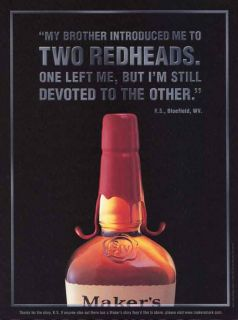 2001 Makers Mark Kentucky Bourbon Whiskey Two Redheads Print Ad
