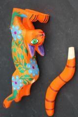Mexican Cat Animal Figure Sculpture Handpainted Woodcarving ALEBRIJE