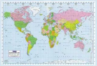 Political World Map Giant Poster