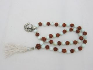 Rudraksha White Agate Combination Full Mala Yoga Meditation Japamala