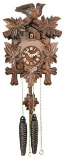 Day Hand Carved Cuckoo Clock w Five Maple Leaves One Bird New