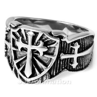 Mens Shield Cross Sword Stainless Steel Ring VE208