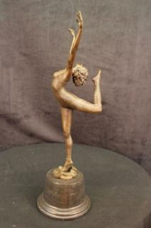 Ballerina Bronze Green Marble Sculpture Statue Figurine Decor