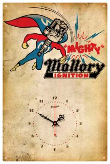 Mallory Ignition Hot Rod Vintage Tin Sign Clock