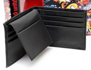 Brand New Marc Ecko Unltd Mens Black Leather Bifold Logo Wallet with