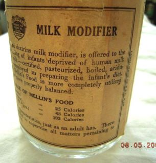 Antique Mellins Food Infants Invalid Glass Bottle w Label Milk