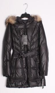 Andrew Marc Demi Quilted Down Feather Filled Belted Raccoon Fur Trim