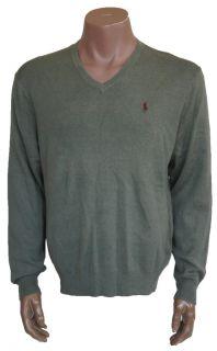 New Polo Ralph Lauren V Neck Sweater 100 Pima Cotton Mens Size L Green