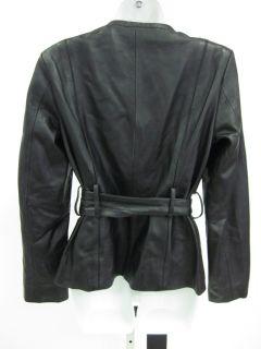 Black Leather Belted Coat Jacket Sz S