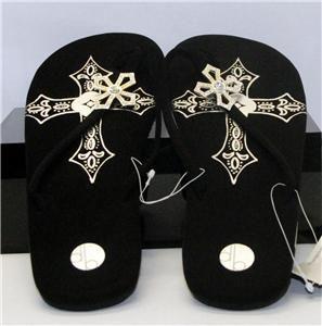 Down Boy Crystal Cross Design Flip Flops Black New
