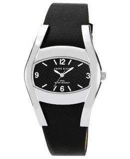 Anne Klein Watch, Womens Black Leather Strap 36x28mm AK 1087BKBK