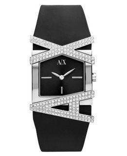 Armani Exchange Watch, Womens Black Silicone Bracelet 39x28mm