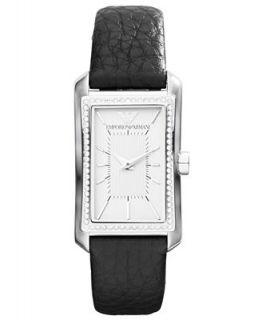 Emporio Armani Watch, Womens Black Leather Strap 30x22mm AR7332