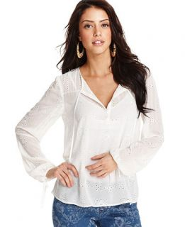 GUESS Top, Long Sleeve Split Neck Eyelet Blouse   Womens Tops