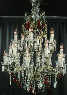 Large Maria Theresa Style Chandelier, Amber Murano Glass Pendants, 18