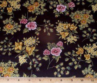 Jasmine SM Roses on Black RJR Quilt Fabric 1 2yd