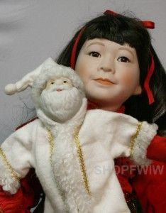 Marian Yu 20 Porcelain Musical Asian Christmas Doll Plays Silent