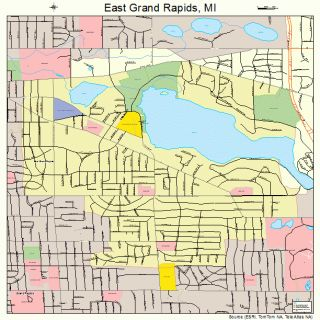 East Grand Rapids Michigan Street Road Map MI Atlas P