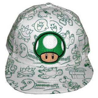 Mario Bros Nintendo One Up Green Mushroom Emroidered Logo Boys Youth