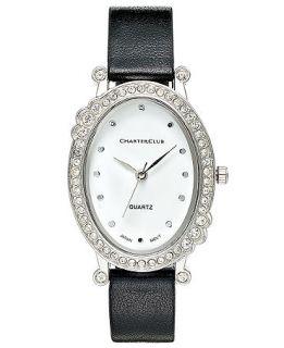Charter Club Watch, Womens Black Polyurethane Strap 33mm   Fashion