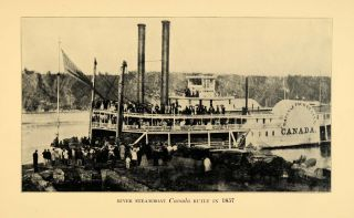 Steamboat Canada River Boat Marine Dock Ship ORIGINAL HISTORIC IMAGE
