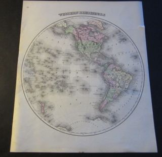 Old C 1870s Antique Map of The World Western Hemisphere