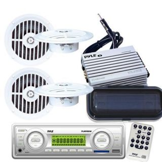 200W Marine Boat  USB AM/FM Radio 4 New Speakers & 400W Amp +Cover