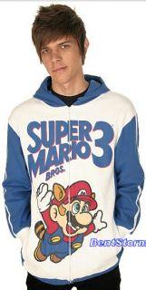 Nintendo Super Mario Bros 3 Hoodie Hoody Track Jacket