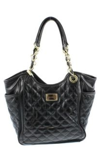 Marc Fisher Black Quilted Shopper Tote Handbag Large BHFO