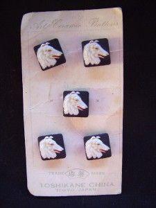 RARE Toshikane Japan Ceramic Collie Buttons on Original Card