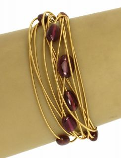 Marco Bicego 18K Gold Ruby Beads 14 Rows Ladies Bracelet