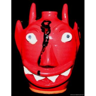 Mark Merritt Folk Pottery Face Jug Red Devil Georgia