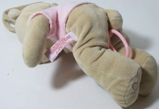 2010 FAO Schwartz Pink Girl Teddy Bear Musical Crib Pull Toy Lovey