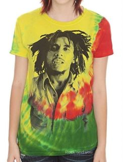 Bob Marley Reggae Rasta Rock Tie Dye Fitted Girls Tee T Shirt XL