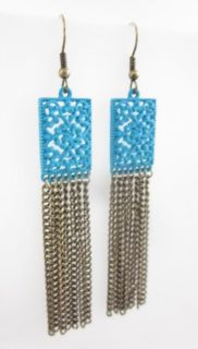 You are bidding on NEW MARLYN SCHIFF Gold Tone Blue Chain Dangle