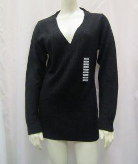 George Martha Sz M L Black Coral L s V Neck Cable Knit Sweater 30037RM
