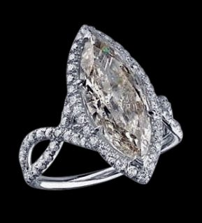 91 Carat Marquise Diamond Ring White Gold Pave Diamonds Ring