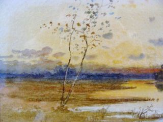 Antique Samuel Chaffee Marsh Sunset Landscape w C Painting