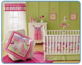 Garanimals Pink 4pcs Baby Girl Crib Bedding Set Quilt Bumper Sheet
