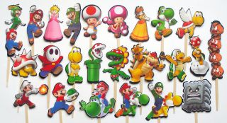 Super Mario Bros Brothers Birthday Party Cupcake Cake Sticker Toppers