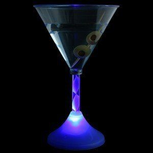 Blue LED Light Up Martini Glasses