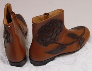 Maison Martin Margiela Shoes $2150 Brown Limited Edition Floral Boot