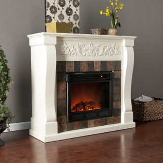 Ivory White ELECTRIC FIREPLACE Mantel Heater w/ Remote Holly & Martin