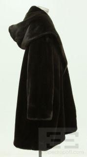 Percy for Marvin Richards Brown 3 4 Length Hooded Faux Fur Coat