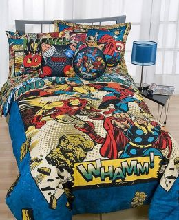 Disney Marvel Comics 180T Full Comforter Sham Set New