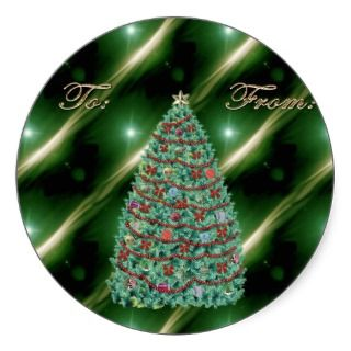 Disco Christmas Tree Gift Tag Sticker