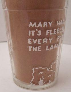 Jelly Jar Glass Nursery Rhyme Mary Had A Little Lamb Vintage